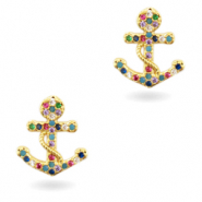 Zirkonia brass elements Rainbow Anchor Gold