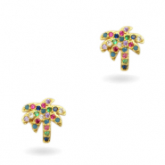 Zirkonia brass elements Rainbow Palm Tree Gold