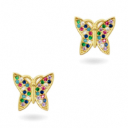 Zirkonia brass elements Rainbow Butterfly Gold
