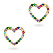 Zirkonia brass elements Rainbow Heart Gold