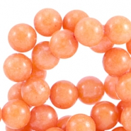 Natursteinperlen Jade rund 6 mm coral orange