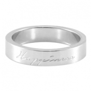 "Slogan ring ""happiness"" Silber"