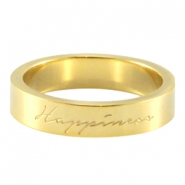 "Slogan ring ""happiness"" Gold"