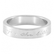 "Slogan ring ""Enjoy the little things"" Silber"