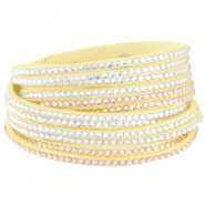 Armband Wildleder Imitat mit Strass Steinen Lemon yellow