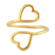 DQ Metall Ringe 2 hearts Gold (nickelfrei)