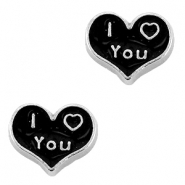 Floating Charms Herz I love you Antik silber-schwarz
