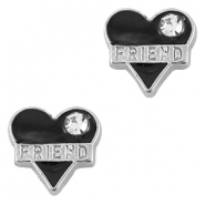 Floating Charms Herz Friend strass Antik silber-schwarz