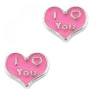 Floating Charms Herz I love you Antik silber-rosa