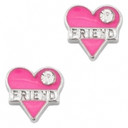 Floating Charms Herz Friend strass Antik silber-rosa