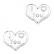 Floating Charms Herz I love you Antik silber-weiss