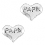 Floating Charms Herz Papa Antik silber