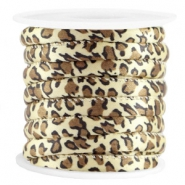Trendy gesteppt Kordel Leopard 6x4mm Yellow brown