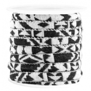 Azteke Kordel 6x4mm White black