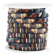 Azteke Kordel 6x4mm Multicolor blue brown