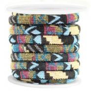 Azteke kordel 6x4mm Multicolor black yellow