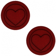 Cabochon Polaris Herz flach 12mm matt Port red