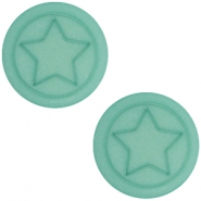 Cabochon Polaris Stern flach 12mm matt Aqua blue foam
