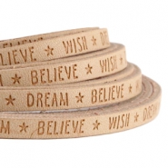 Flach imi Leder 5mm mit Slogan Wish Dream Believe Almond beige brown
