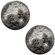 Polaris Cabochon Perseo matt crushed ice 20 mm Black silver