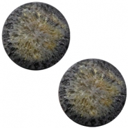 Polaris Cabochon Perseo matt crushed ice 12 mm Black gold