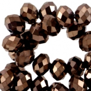 Top Glas Facett Perlen Disc 4x3mm Copper brown metallic