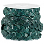 DQ Leder flach geflochten 10mm Dark teal blue - antique finish