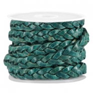 DQ Leder flach geflochten 5mm Dark teal blue - antique finish