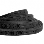 Flach imi Leder 5mm mit Slogan Boho Chic Black anthracite