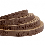 Flach imi Leder 5mm mit Slogan Love life Dark brown