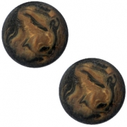 Cabochon Polaris Perseo matt 12 mm Schwarz smoke topaz