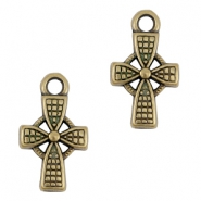 DQ Metall Anhänger/charm cross Antik bronze (nickelfrei)