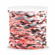 Trendy flach geflochtene Kordel 3mm Coral red