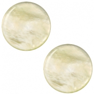 12 mm flache Cabochon Polaris Elements Perlmutt Tea green