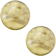 12 mm flache Cabochon Polaris Elements Perlmutt Light olive green
