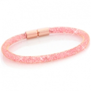 Armbänder single mit Kristall Facett Gold - light pink