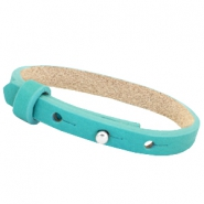Cuoio Armband Leder 8 mm für 12 mm Cabochon  Flash turquoise green