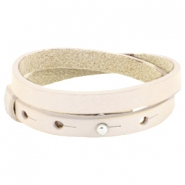 Cuoio Armband Leder doppel 8 mm für 12 mm Cabochon  Cream ivory beige
