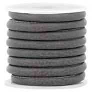Gestepptes Leder Imitat 6x4mm Dark graphite grey