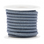 Gestepptes Leder Imitat 4x3 mm Dark blue grey