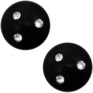 12 mm classic Cabochon super Polaris Elements 3 Swarovski Steine Nero schwarz