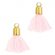 Mini Perlen Quaste Ibiza Style mit Endkappen Gold-Light rose