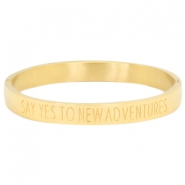 "Armbänder aus rostfreiem Stahl mit Slogan ""SAY YES TO NEW ADVENTURES"" Gold"