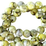 8 mm Glasperlen meliert Yellow green