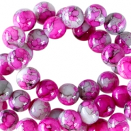 8 mm Glasperlen meliert Fuchsia-grey