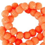 Sparkling beads 6mm Neon orange