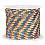 Trendy kordel Surfkordel rund 3mm Blue yellow red