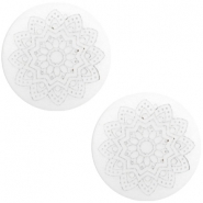 12 mm flach Cabochon Polaris Elements Mandala print White