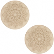 12 mm flach Cabochon Polaris Elements Mandala print Light taupe