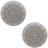 12 mm flach Cabochon Polaris Elements Mandala print Ice grey